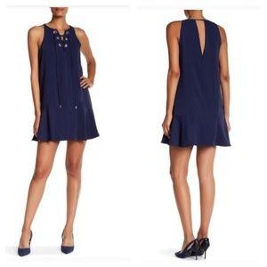 Parker women S blue lace up shift dress sleeveless